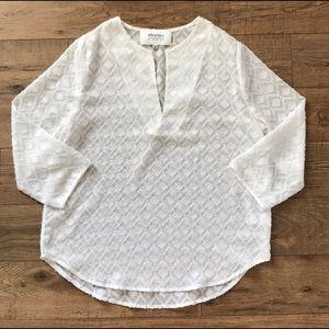 White sheer pattered blouse - M
